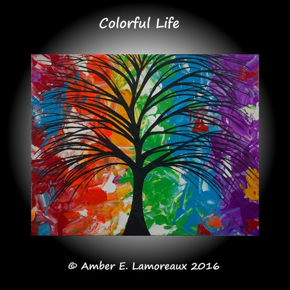 Fine Art Giclee Print of Original Painting 'Colorful Life' Amber Lamoreaux Surreal Tree Modern Contemporary Art Prismatic Rainbow Tree