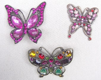 3 rhinestone pendants red purple late 20th century rhinestone jewelry butterfly pendant pendant supplies vintage supplies (AAG)