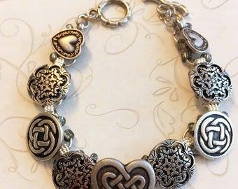 Celtic heart button bracelet