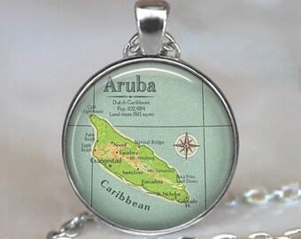Aruba map necklace, Aruba pendant, Aruba map pendant, Caribbean map pendant, traveler's gift, vacation memento key chain