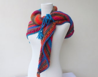 Womens multi color Knit shawl Triangle knit Scarf Hand knit scarf Colourful Hand knitted wrap Knit Poncho