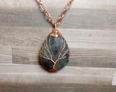 Labradorite Tree of Life Necklace - Labradorite Necklace - Gemstone Tree Necklace - Labradorite Pendant - Copper Teardrop Necklace