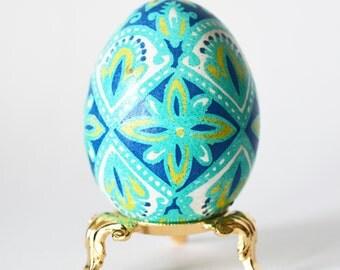 Etshed chicken egg Yellow Mustard and Blue Ukrainian Easter egg Pysanka batik decorated egg