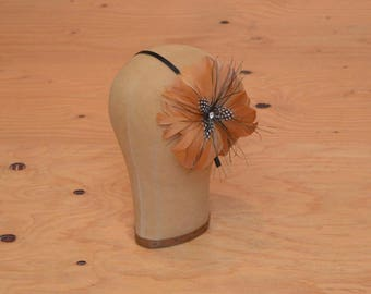 Vintage 20's Style Peachy Orange  Feather Flower Headband Great For A Romantic Flapper Look