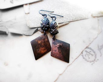 Rustic Assemblage Earrings   Vintage Shabby Beads, Gothic Caps, Antiqued Patina Metal Diamond Charms   Black & Shiny Silver Deco Beads