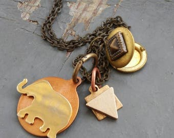 Ephos - geometric metalwork tag, copper elephant good luck charm & edgy spiked stash box locket, sealed link chain necklace