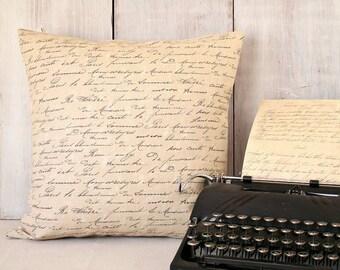 Tan Script Pillow Cover - French Script Letter Pillow - Black Beige Throw Pillow - Cottage - Vintage - Farmhouse