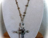 Pre Holiday sale Chandelier Crystal Repurposed Rosary Style Pendant Necklace
