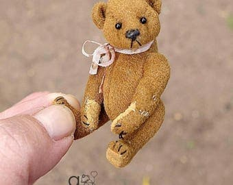 "Tom Thumb, Mini Miniature 2 1/4"" Artist Teddy Bear by Aerlinn Bears"