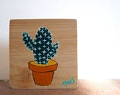Little Cactus Succulent Sign in Reclaimed Cedar Wood - Rustic Children's Room Artwork - Handpainted Original Nursery Art - Green and White