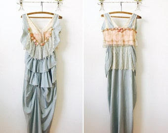 Layaway for Alice EdwardianDress/Tulle lace trim/Ribbonwork flowers/Silk rosettes/Aqua Blue/Pastel Pink Damask Ribbon/Glass beaded trim