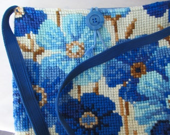 Upcycled Blue Flowered Needlepoint Bag