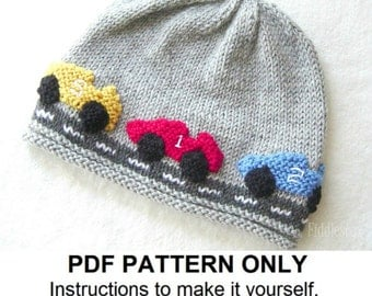 Boy's Hat Knitting Pattern - Racecar Hat - Baby Boy Hat - the ALEX beanie (Newborn, Baby, Toddler, Child & Adult sizes)