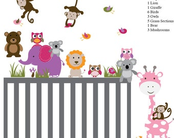 Baby Tree Decal. Tree Decal. Wall Decal tree. Tree and owls decals. Jungle Animal Wall Decals.