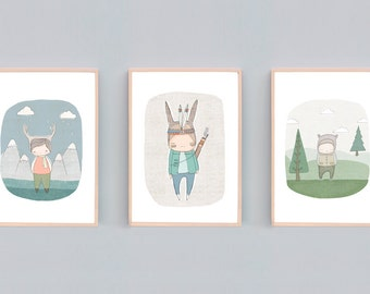 Small to Large Boys Nursery Prints, Nursery Wall Art, Woodland Nursery Decor, Baby Boy, Blue, Green, Bear, Indian Warrior Bunny, Deer Set