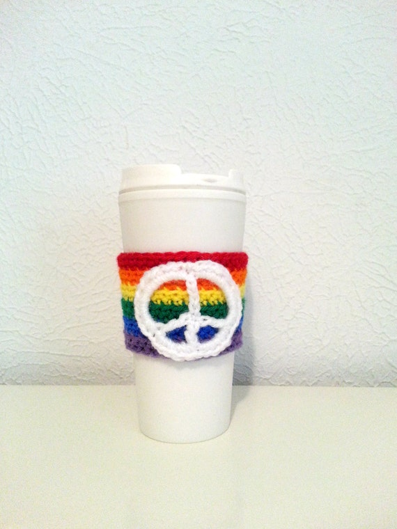 Rainbow Peace Crochet Cup Sleeve, Multicolor Cup Cozy, Rainbow Pride, White Peace Sign, Eco-friendly Drink Holder