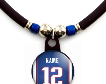 New England Personalized football Jersey Necklace With Your Name and Number