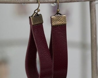 Burgundy and Bronze Leather Earrings