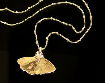 Gold Ginkgo Leaf Necklace, Gold Dipped Leaf, Real Ginkgo Leaf Pendant Necklace, Gold Leaf Necklace, Real Leaf, Autumn Leaf, Nature Jewelry