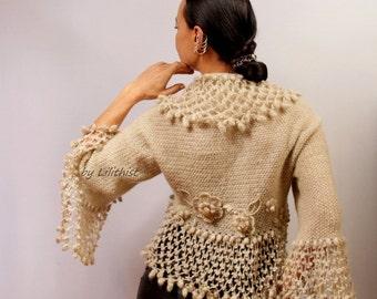 Wedding Bridal Shrug Bolero, Crochet Shrug, Bridal Cover Up, Bridal Bıolero, Sweater Cardigan, Knit Shrug, Crochet Bolero, Jacket  / SALE