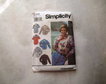 1992 Country Western Shirt Blouse Pattern Uncut - Bust 34-38 Waist 27-30 - Hip 36-40 Simplicity 8259 Cowgirl Roper