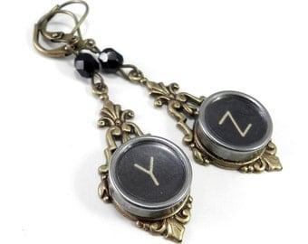 Typewriter Key Earrings - STEAMPUNK Earrings - Y and Z on Brass Edwardian Filigree - Real Vintage Keys