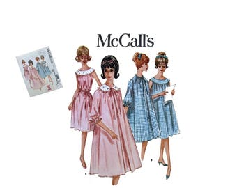 Vintage McCall's 6242 Sewing Pattern Misses Nightgown Pattern Misses Duster Pattern Misses Size 14 Bust 34 Retro Pattern Sleepwear Lingerie