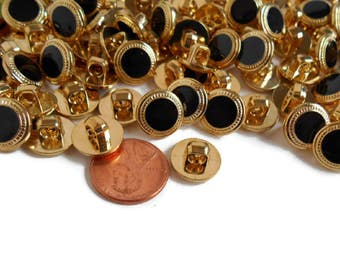 Small Plastic Buttons Gold And Black Shank Sew On Crochet Knit Craft 12 mm Lot of 100 Pcs, New Black and Gold Small Buttons