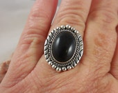 Native American Black Onyx Sterling Silver Rings
