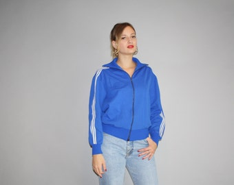 1980s Vintage Adidas Trefoil Warmup blue Trainer Track Jacket  - Vintage Adidas Jacket  - Vintage Adidas Trefoil Festival Jacket  - W00038