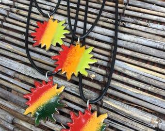 Rasta Sun Necklace, Jamaican Sun Necklace, Enamel Sun Necklace