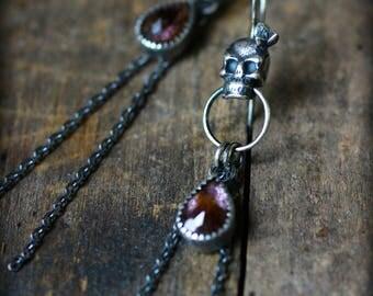 Día de Muertos - Moss Amethyst Long Earrings - Skull, Succulent, Recycled, Dangle, Chain, Gypsy, Memento Mori, Rocker, OOAK, Gifts for Her