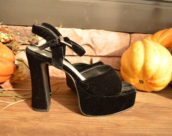 Vintage 90s Black Velvet Platform Heels