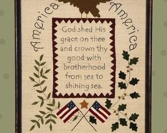 "Primitive Folk Art Wool Applique/Embroidery Pattern - ""AMERICA"" Sampler - Fits in Standard Size Frame"