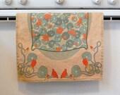 Linen Nasturtium Flower Towel or Table Runner in Arts and Crafts Vintage Style