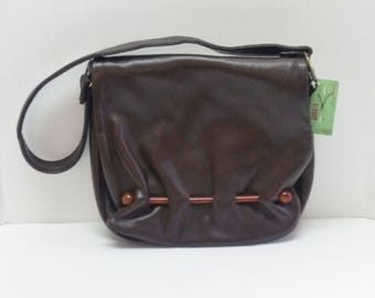 Vintage Purse Brown Faux Leather Shoulder Bag with Tortoise Shell Rod Detail 60's 70's Bohemian Hippie Fashion Purse Dead Stock Original Tag