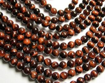 Red Tiger eyes - 8mm round beads -1 full strand - 48 beads - RFG44