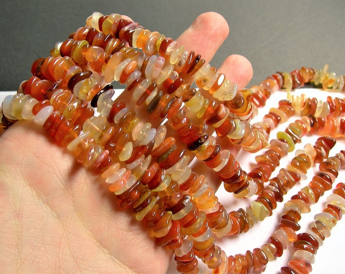 Carnelian agate - chip stone disc beads - full strand - 10mm - A quality - PSC345