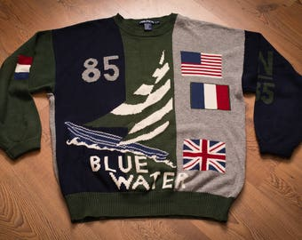 Nautica Blue Water Sweater, Chunky Knit Color Block, Vintage 90s, Nautical Sailboat Racing, Sailing Boat, Oversized Long Sleeve Shirt