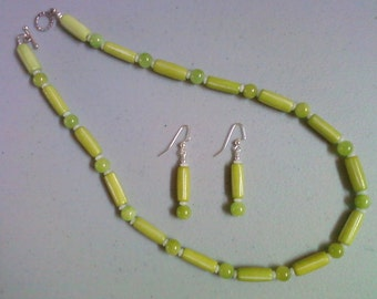 Ethnic Inspired Lime Green Bone and Stone Bead Necklace and Earrings (0173)