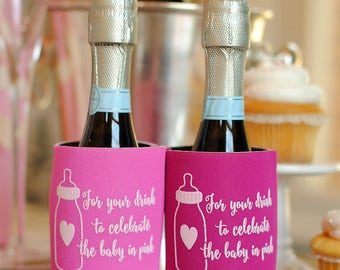 Girl Baby Shower Favors - For Your Drink to Celebrate the Baby in Pink Can Coolers, Coed Gender Reveal, Stubby Holders, Beer Insulators