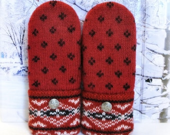 Red Black & White 100% Felted Wool Nordic Style Women's Recycled Sweater Mittens