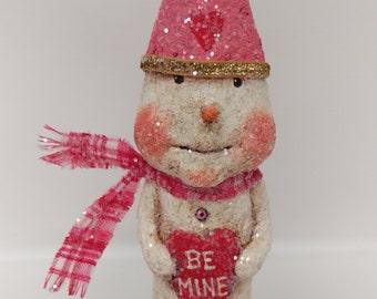 Valentine Snowman - Paper Mache Snowman - Whimsical Snowman - Valentine's Day gift - Folk Art Snowman