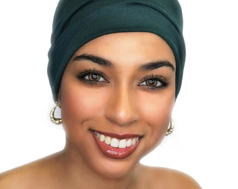Chemo Hat, Sleep Hat, Alopecia Cap, Pre-Tied Turban, Slouch Hat, Forest Green, Rayon Knit, 299-02