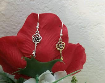 Key Charm Earrings - womens jewelry - silver charm earrings - silver key earrings