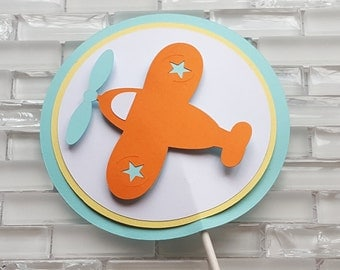 Vintage Airplane Cake Topper in Orange, Yellow, and Aqua Blue for Birthday or Baby Shower, READY TO SHIP