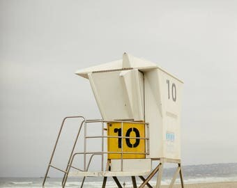 Mission Beach Yellow Life Guard Stand  - Vertical
