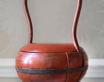 Vintage Chinese Wooden Rice Bucket Red Lacquer