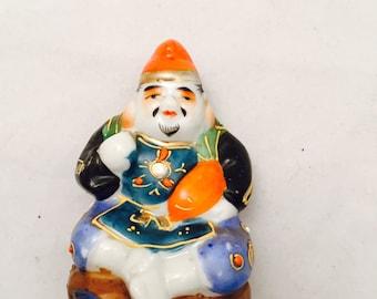 Ebisu Kutani Figurine, God Of Good Fortune,  Ebisu God Of Fishing, Japanese Folklore
