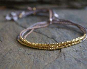 Thin gold bracelet, layering gold bracelet, 24k yellow gold plated bracelet, gold silk bracelet, gold beaded bracelet, gold dainty bracelet